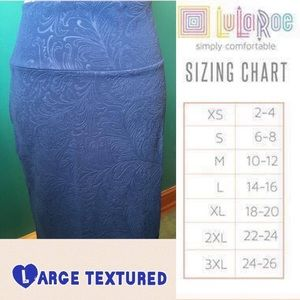 LuLaRoe Large Blue Textured Cassie Pencil Skirt